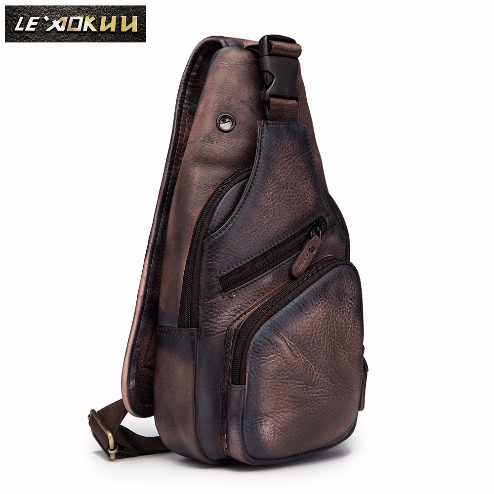 Men Original Crazy Horse Leather Casual Fashion Crossbody Chest Sling Bag Design Travel One Shoulder Bag Daypack Male 8015-db