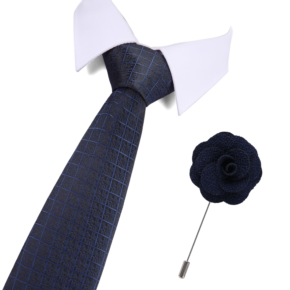 7.5cm Wide Silk Jacquard Woven Mens Plaid Tie Red Paisley and Pin Set Classic Brown Blue Neck Ties For Wedding Business