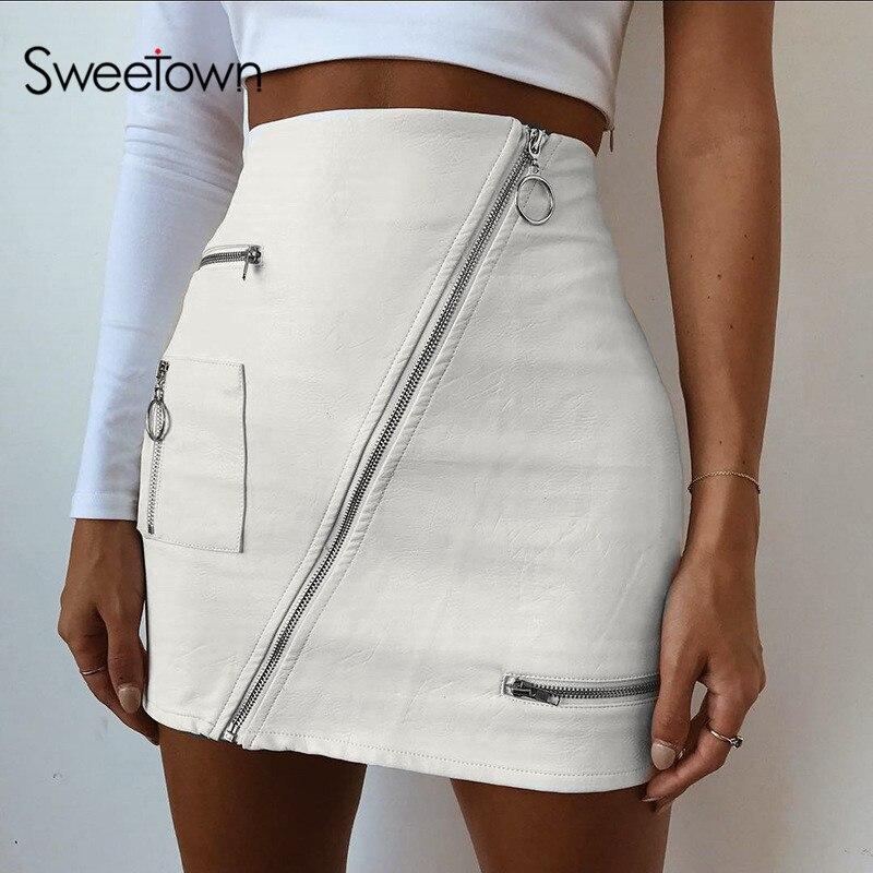 Сладкая белая однотонная Бохо пляжная стильная юбка женская на молнии трапециевидная юбка летняя Высокая талия кожаная короткая юбка элегантная праздничная