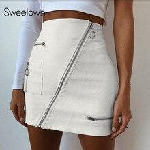 Sweetown לבן מוצק Boho חוף סגנון חצאיות נשים רוכסן קו חצאית קיץ גבוה מותניים עור קצר חצאית אלגנטי חג