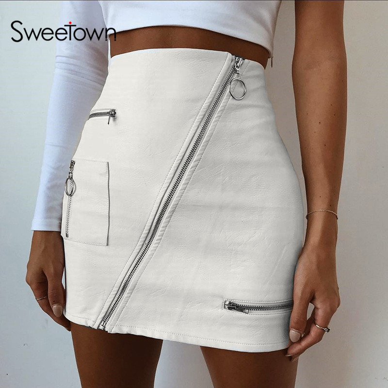 Sweetown White Korean Style Skirts Womens Street Style A Line Skirt Summer High Waist Vogue Steampunk Leather Short Skirt