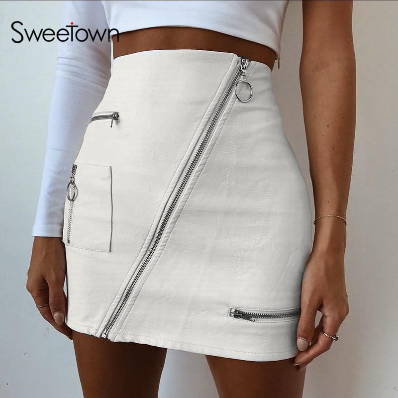 Sweetown White Korean Style Skirts Womens Street Style A Line Skirt Summer 2018 High Waist Vogue Steampunk Leather Short Skirt