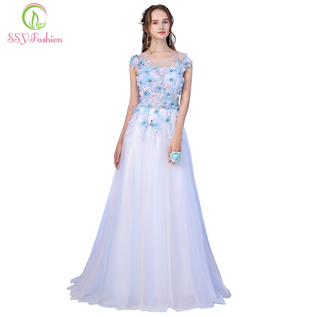 Clearance SSYFashio Fresh Sweet Light Pink Lace Evening Dress The Birde  Banquet Elegant Butterfly Flower Long Prom Party Gowns b36bbd3f83d2