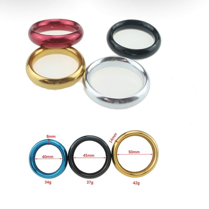 Male 1pcs Diameter 4cm 4.5cm  Aluminum Alloy Metal Penis Ring Delay Ejaculation Cock Ring Sex Toys For Men Erotic Games Cockring