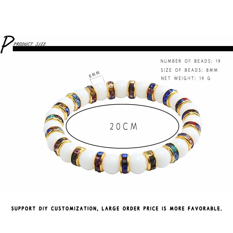 Image 5 - 11 Style Natural Stone Chakra Elastic Bracelet Men White  Porcelain Healing Balance Beads Reiki Buddha Prayer Bracelet For  WomenStrand Bracelets