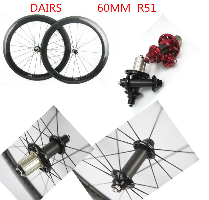 60mm clincher tubular carbon wheels powerway R51 Straight pull 700C road 60mm bicycle wheelset bikes road wheels sobato bikes wheel carbon road wheels bicycle chinese oem wheelset 38mm clincher or tubular powerway r13 hub