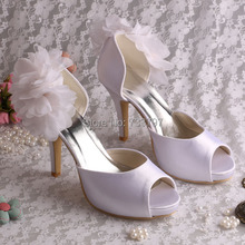 Wedopus Женщины Свадебная Обувь Белый Цветок Атласная Каблуки Платформы Насосы Челнока