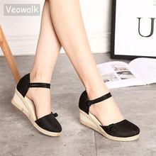 faad558f Veowalk Vintage Mujer Sandalias Casual Lona de lino cuña sandalias verano  tobillo Correa Med talón plataforma Alpargatas Zapatos