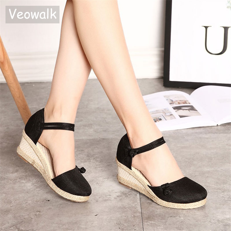 Veowalk Vintage Women Sandals Casual Linen Canvas Wedge Sandals Summer Ankle Strap Med Heel Platform Pump Espadrilles Shoes