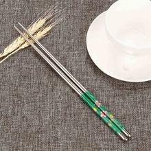Floral Print Stainless Steel Chopsticks