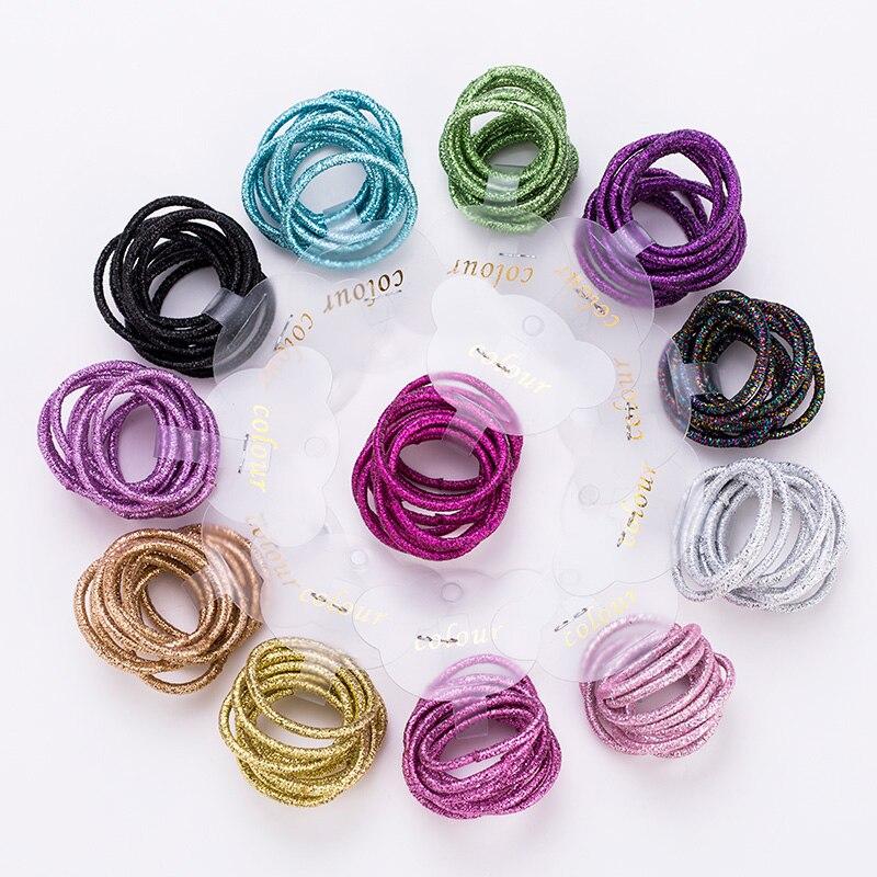 10PCS/Lot New Girls Cute Colorful 3.0cm Elastic Hair Bands Tie Gum Scrunchie Rubber Band Children Headband Kids Hair Accessories