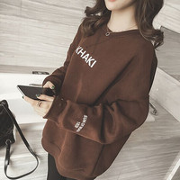Winter 2017 Curvy Women Shirts Plus Size Loose Tops Letter Long Sleeve Thick Keep Warm T shirts Brief XXXXXL Shirts Casual Top