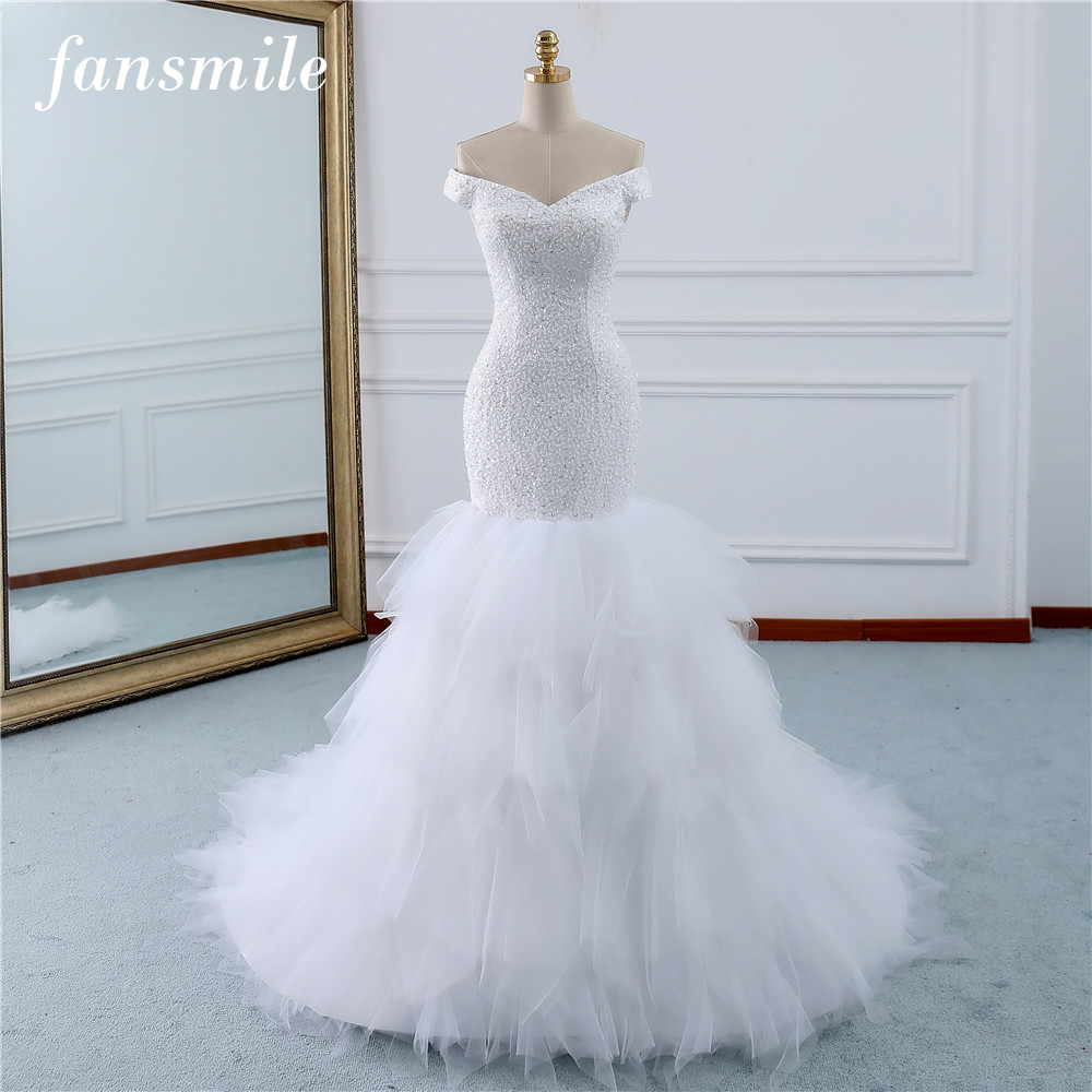 Fansmile Beading Vintage Lace Gowns Mermaid Wedding Dress Plus Size 2019 Long Train Custom made Bridal