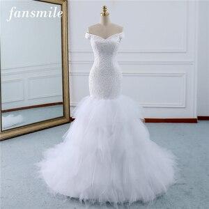 Image 1 - Fansmile ואגלי בציר תחרה שמלות בת ים חתונה שמלה בתוספת גודל 2020 ארוך רכבת מחוייט כלה חתונה טורקיה FSM 431M