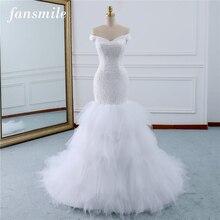 Fansmile Perlen Vintage Spitze Kleider Meerjungfrau Hochzeit Kleid Plus Größe 2020 Lange Zug Nach Maß Braut Hochzeit Türkei FSM 431M