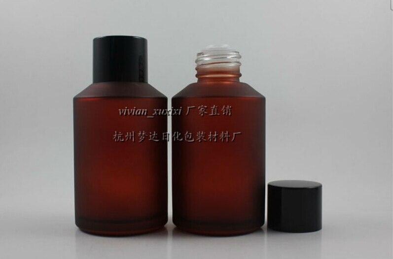 50 шт. 125 мл круглый роза красная матовое бутылка лосьона с черной винтовой крышкой, 125 мл стекло Amber косметическая упаковка для жидкий крем