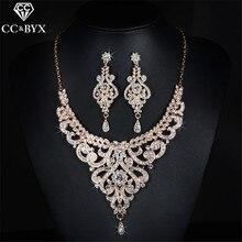 Pendientes y collar de joyería Vintage, conjuntos de joyería de Boda nupcial, cristal brillante CZ, accesorios de fiesta lujosos D020