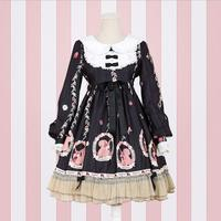 Royal fairy Japanese soft sister Princess LOLITA lace dress female ruffles stitching cartoon printed cute dress wq1602 factory