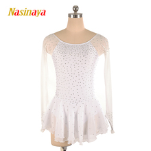15 Colors Customized Costume Ice Skating Figure Skating Dress Gymnastics Adult Child Girl Skirt Competition Long Sleeve customized costume ice figure skating dress gymnastics competition white adult child performance blue rhinestone sleeveless