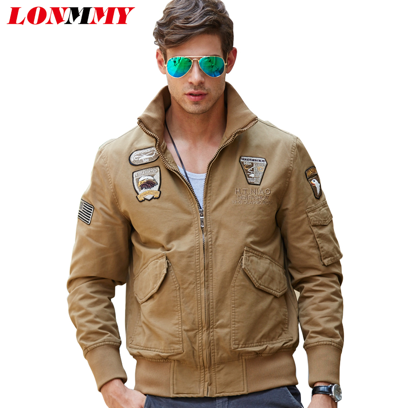 b3f26a2a435 LONMMY 2018 Bomber jacket men Cotton Wool liner thicken Winter coat men  Military jaceket mens jackets coats men army M-4XL