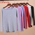 Lafarvie Women Winter Cashmere Blend Sweater Knitted Sweaters Long Sleeve Pullovers Female Slash Neck Sweater High Quality