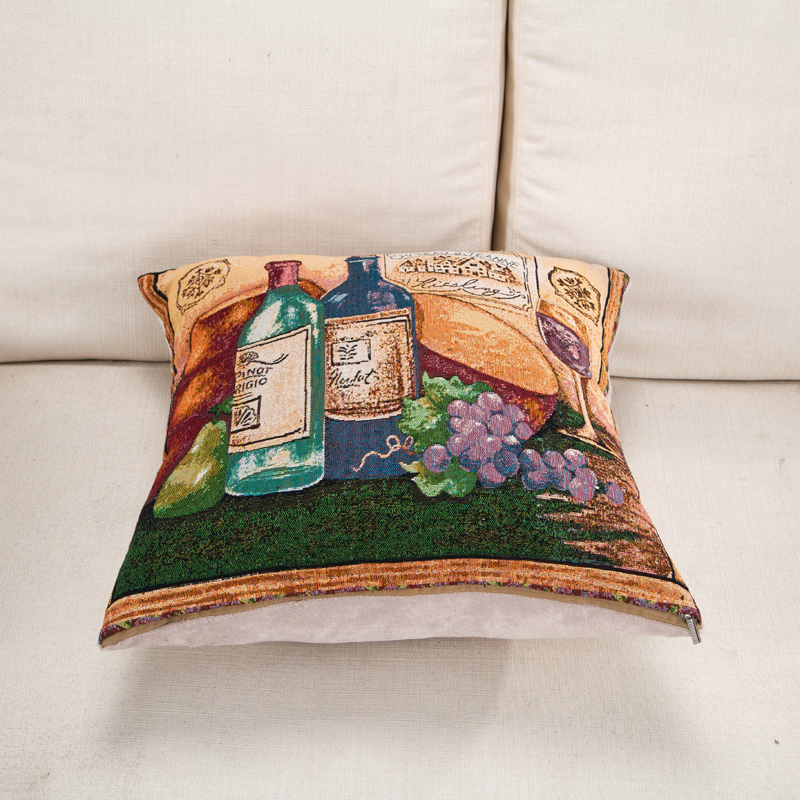 Cozzy Coton Linen Square Decorative Throw Pillow Case Cushion Cover for Sofa Couch Home Deco 45x45cm Wine Bottle Oil Painting