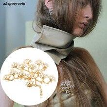 Broche Vintage de pino para mujer, broche de rama de árbol, Perla de imitación, ramillete, joyería para mujer, broche con forma de lágrima grande