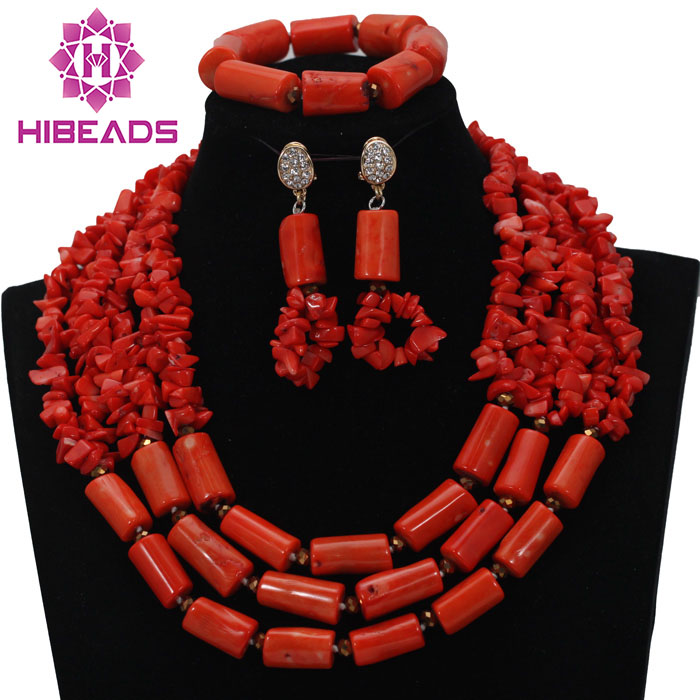 New Free Shipping! 2017 Unique African Coral Beads Jewelry Set Nigerian Wedding Beads Jewelry Set Bridal Coral JewelryABL577
