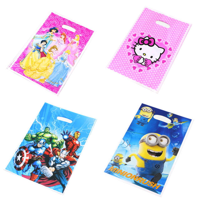 10pclot Pokemon Birthday Party Decoration Little Pony Loot Bag Avenger Minions Sofia Gift Bags Kids Favors Baby Shower Supplies