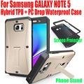Для Samsung GALAXY NOTE 5 Новая Мода Гибридный ТПУ + PC шок Падение Водонепроницаемый case Для Note5 С Подставкой Протектор Экрана N513