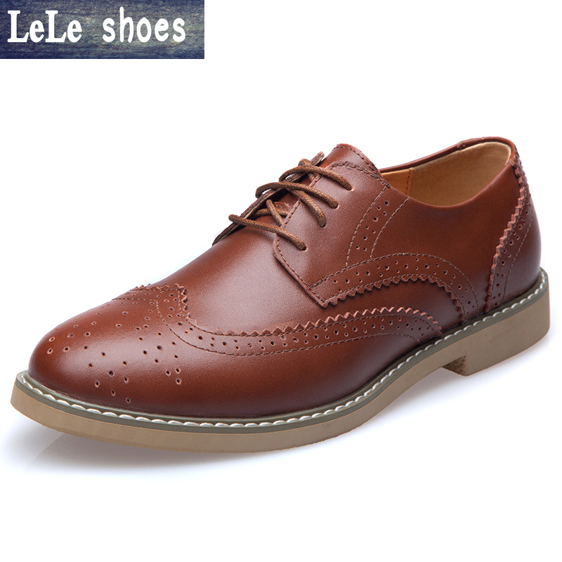 цены 2016 New High Quality Genuine Leather Men Shoes Brogues  Lace-Up Bullock Business Men Oxfords Shoes Men Dress Shoes Flats