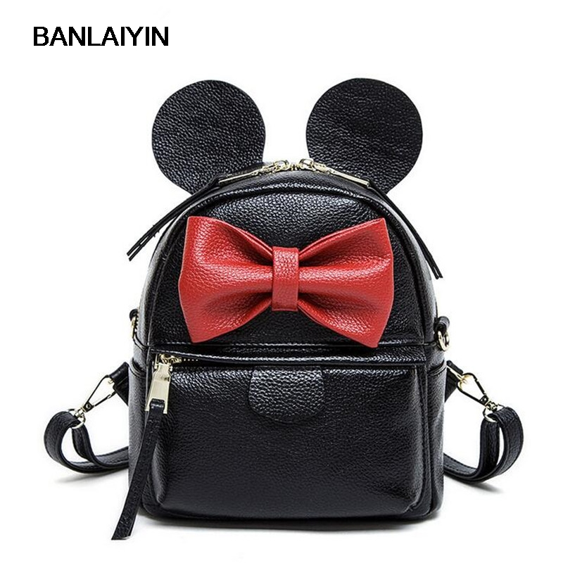 Nice Preppy Style Women Backpack Genuine Leather Black Mini Bow Design Shoulder School Bags For Girl Travel Backpacks high quality pu leather backpack women large capacity travel portable shoulder bags girl preppy style school bag new backpacks