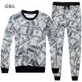 New 2016 Autumn/Winter women/men track suits 3D funny print Harajuku USA 100 Dollar  sets crewneck sweatshirt/pants/tracksuits