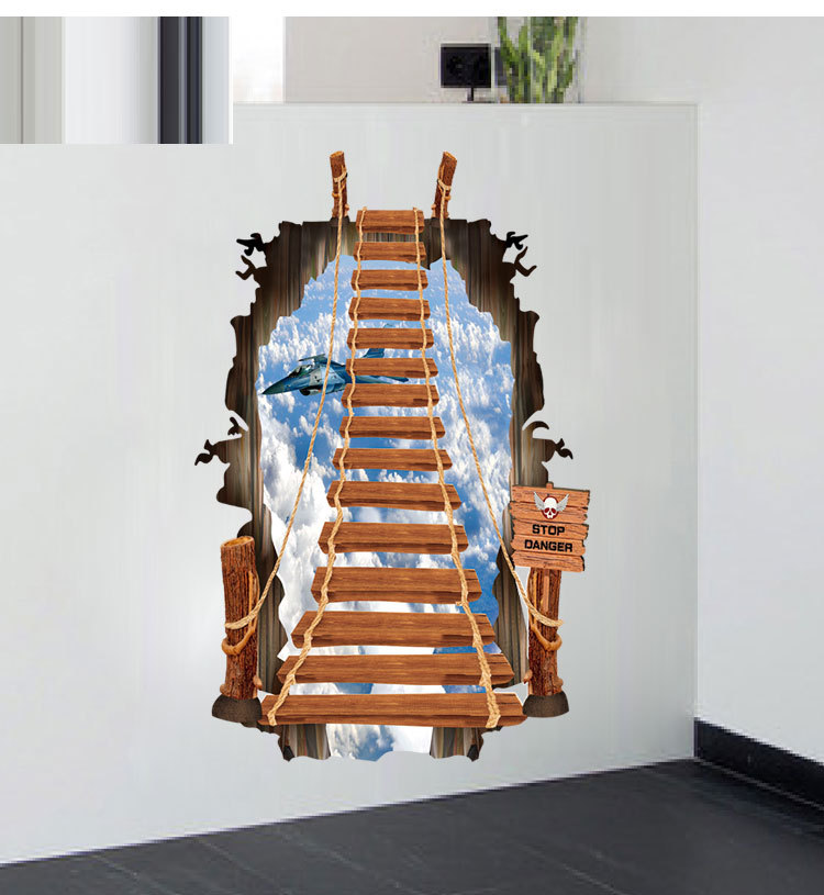 3D Large Wall Stickers For Bathroom Flyover Floor Sticker ...