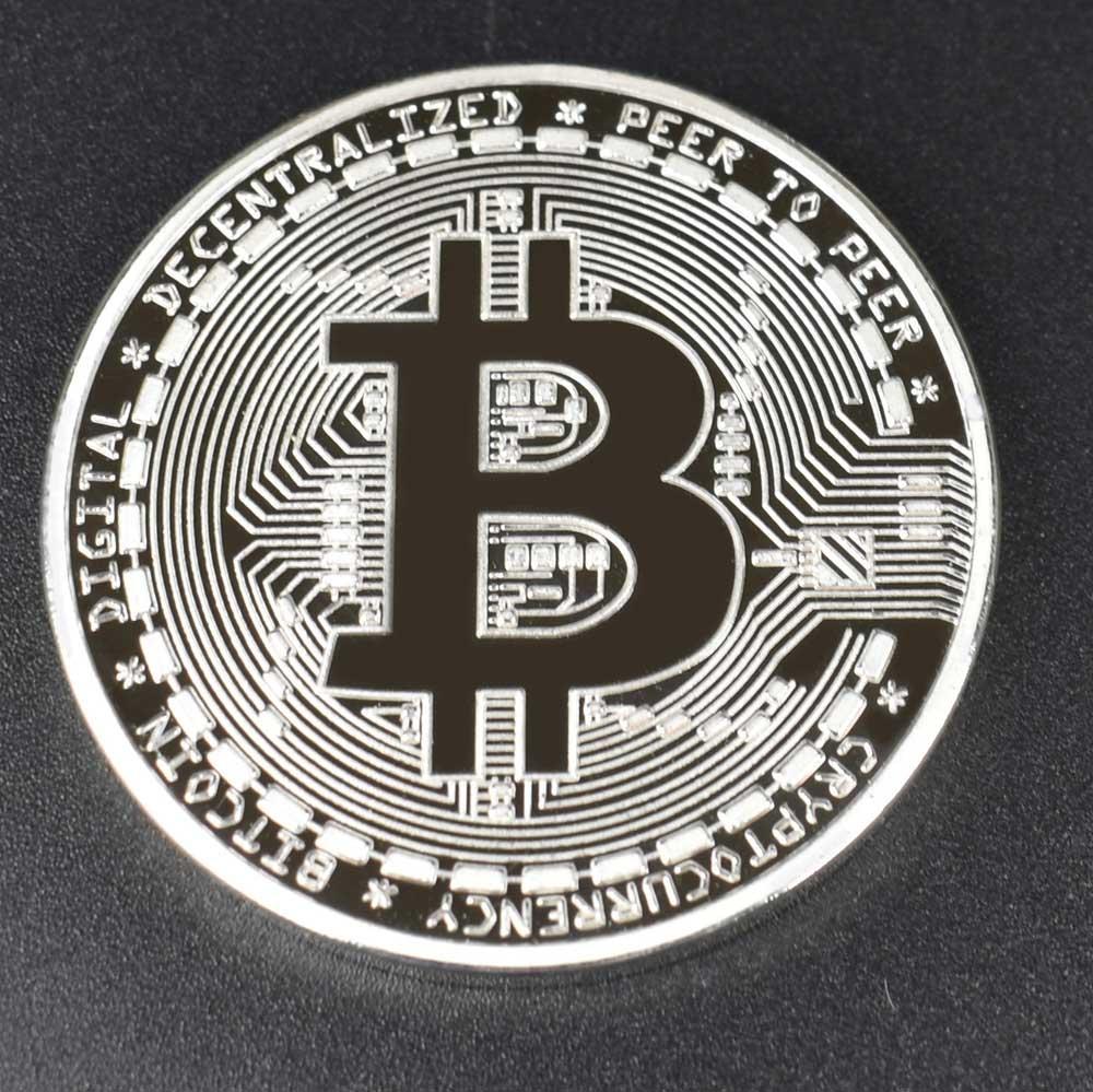 Позолоченные Биткоин Бит монета пульсация Litecoin эфириум коллекция подарок 40 мм криптовалюта монета металлическая памятная монета - Цвет: Silver bitcoin