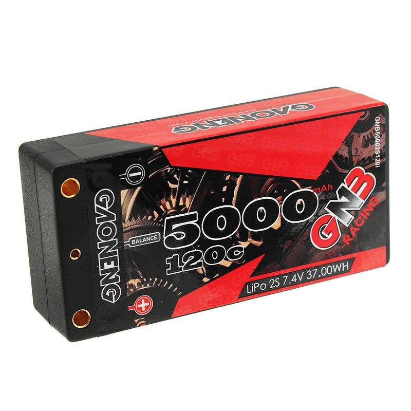 Gaoneng GNB 5000mAh 2S 7.4V 120C/240C Hardcase SHORTY LiPo batterie 4.0mm Deans prise pour 1/10 RC voiture de course B5M 22 RB6 22T SCT