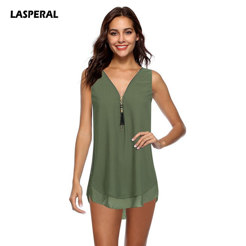 LASPERAL Summer Tops For Wome Blouse Shirts 2018 Slim Bandage Zipper Backless Cross Loos ...