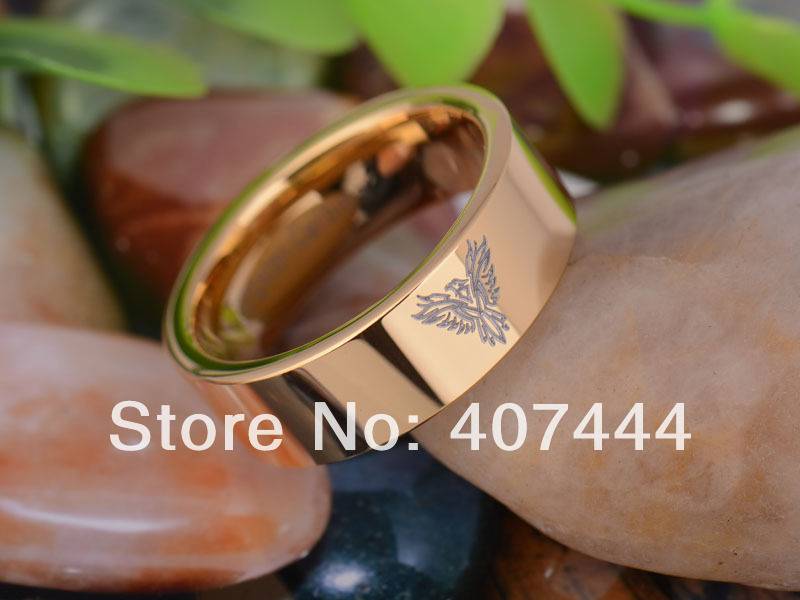 free shipping usa uk canada russia brazil hot sales 8mm gold pipe military army phoenix mens - Military Wedding Rings