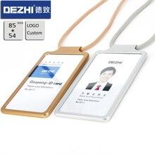 Получить скидку DEZHI-простые металлические держатели ID карты Badge с ремень безопасности и регулируемой пряжкой, удобные, сосредоточиться на настройки