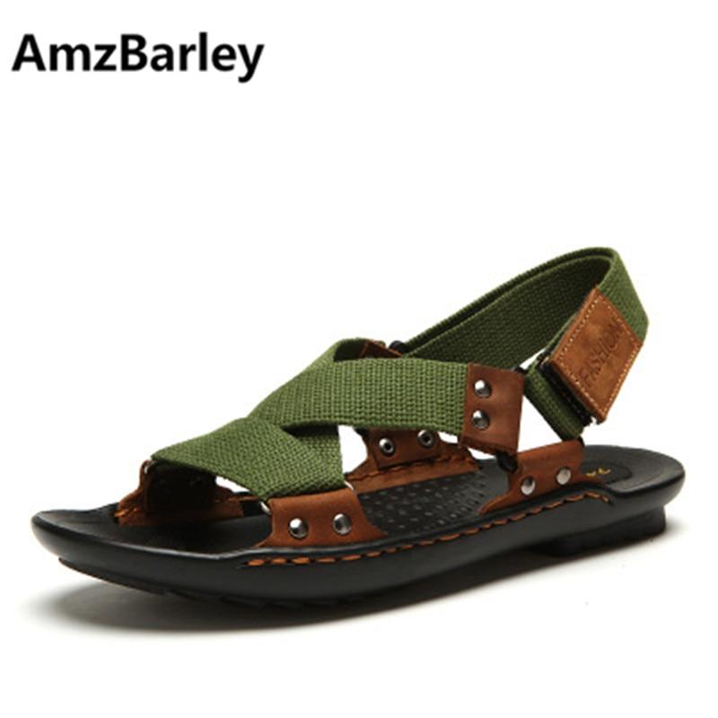 AmzBarley Genuine Leather Sandals Men Summer Beach Slip On Shoes Footwear Slippers Outdoor Walking Zapatos Sandalias Hombre 2018