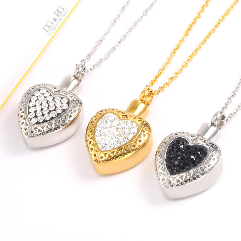 Urn Necklace For Ashes Heart Shaped Necklace Cremation Memorial Pendant Keepsake Zircon Jewelry Memorial Pendant Animals Urn