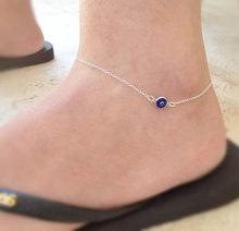 Rhinestone Moda Praia Beach Silver Anklet