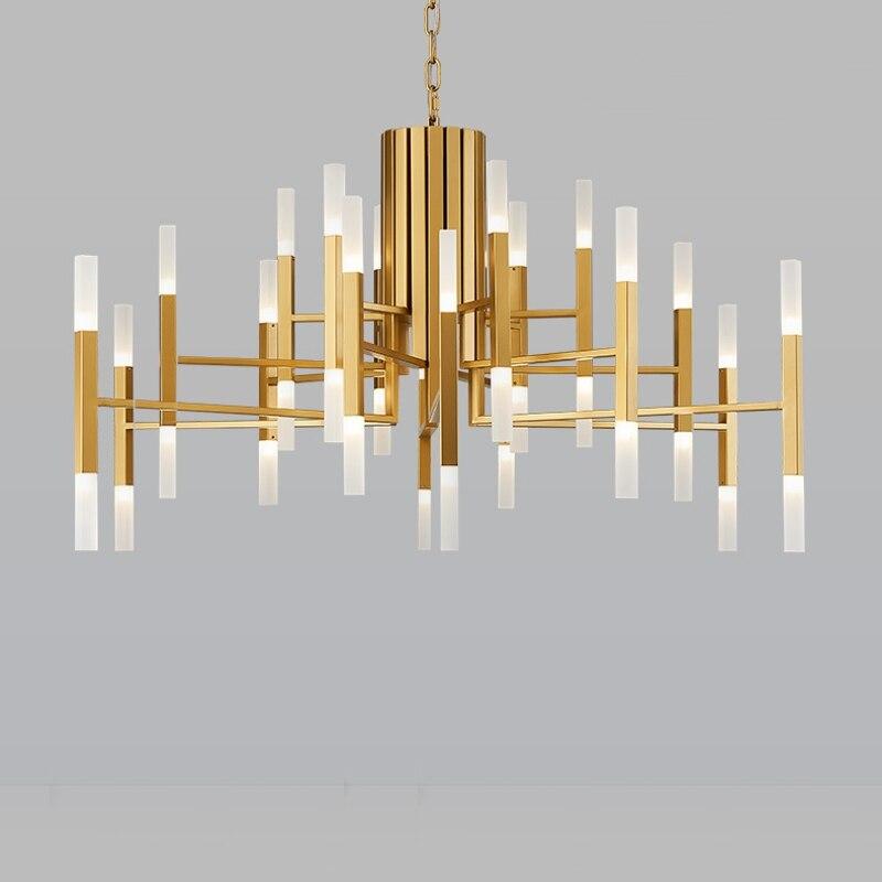 Nordic постмодерн светодиодный art вилла люстра гостиная лобби Ресторан золотой люстра творческая личность трубки огни