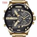 TOP-7333, el reloj grande del dial es de 5.2 CM de los hombres del ocio, dos tiempo relojes de marca deportiva, relojes de cuarzo, moda de lujo reloj de los hombres