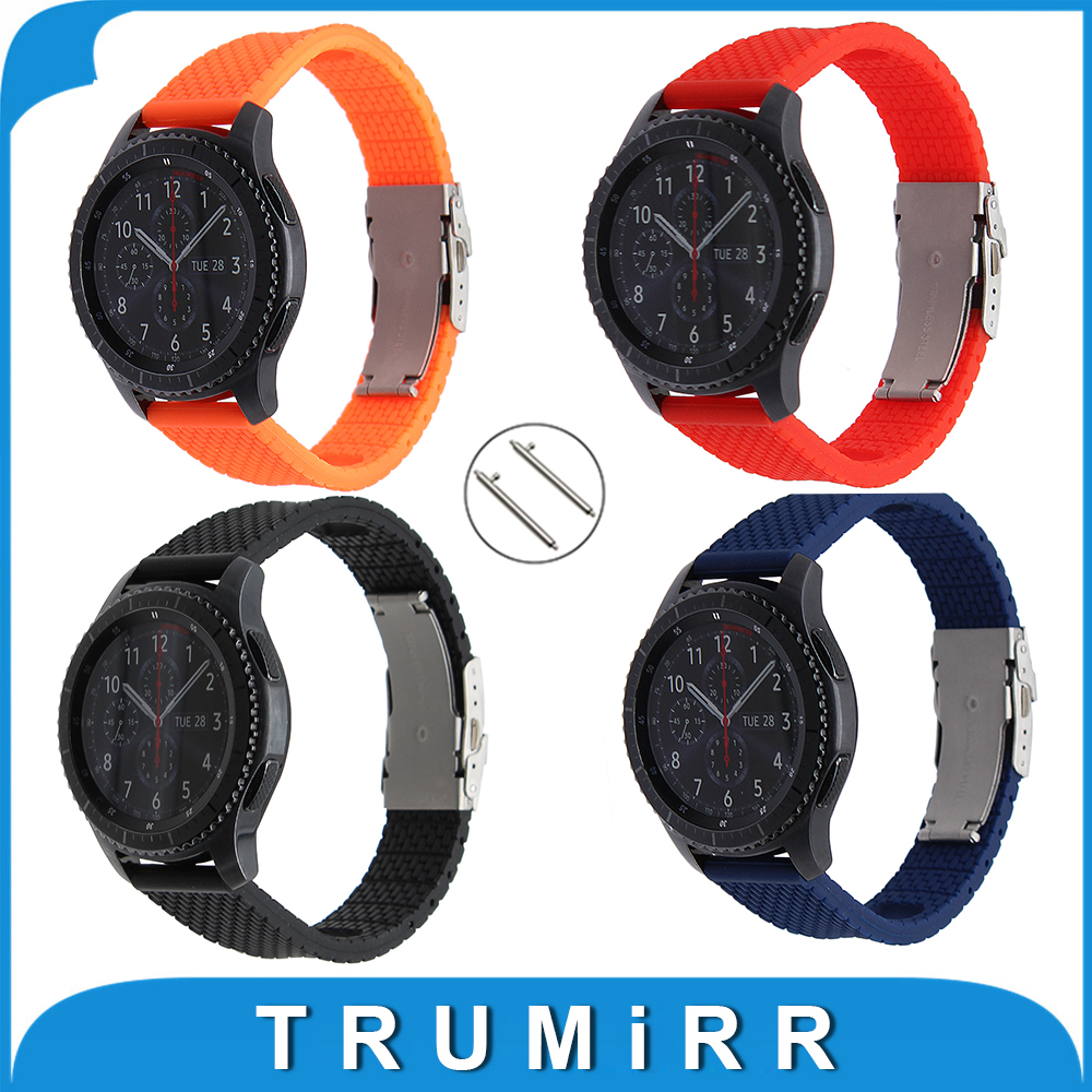 Quick Release Silicone Rubber Watchband 22mm for Samsung Gear S3 Classic / Frontier Stainless Steel Buckle Strap Wrist Bracelet