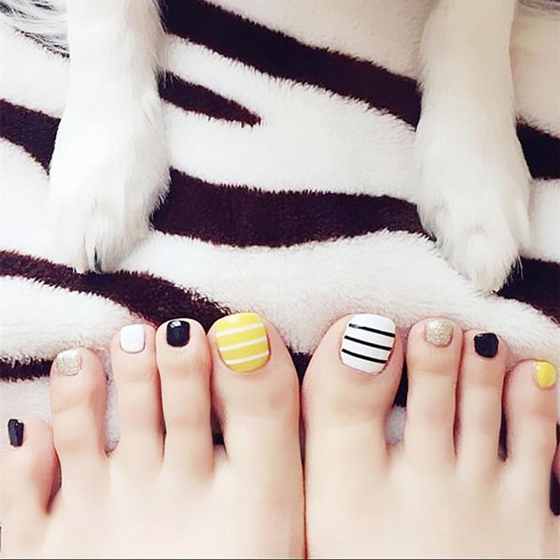Simple 24PCS/set Black yellow White stripe design summer toes ...