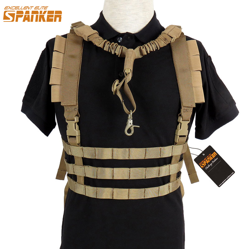 EXCELLENT ELITE SPANKER Outdoor Military Combat Nylon Molle Chest Hanging Vests Tactical Assault Training Hunting Vest Equipment excellent elite spanker tactical molle chest strap vest detachable chest rig outdoor military hunting nylon sling vest equipment