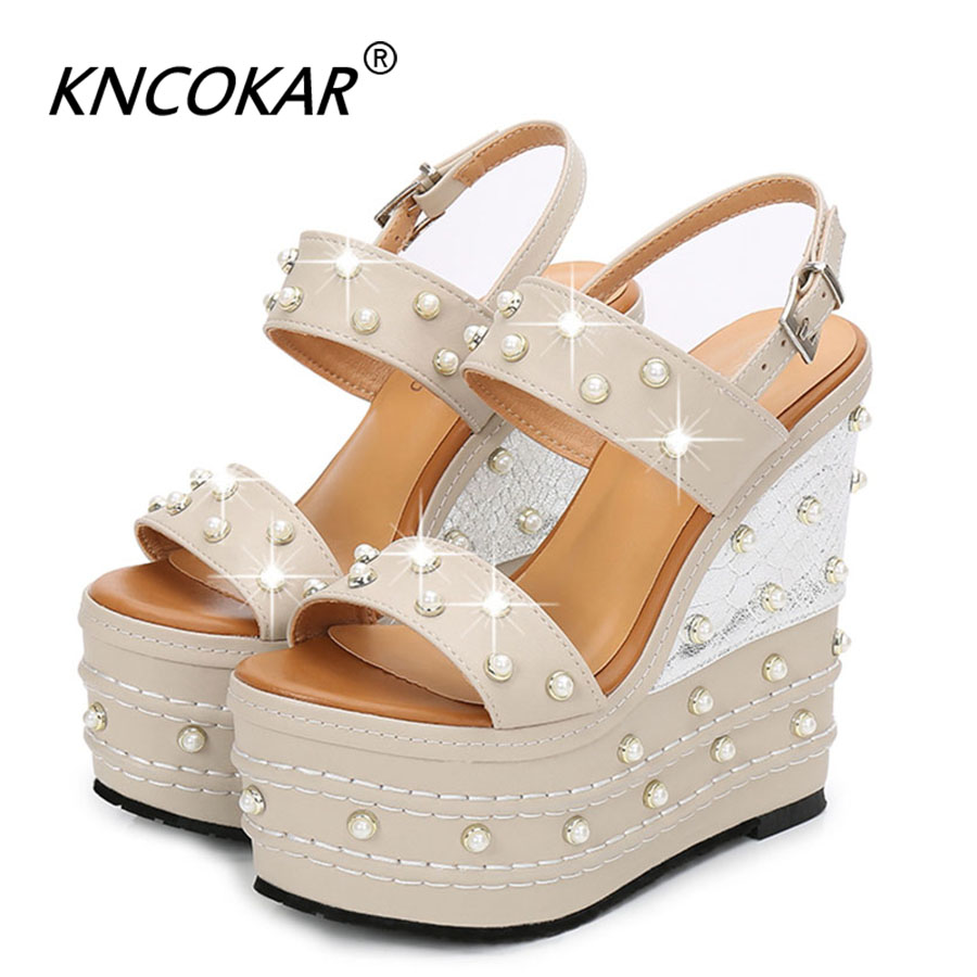 Spring And Summer New 16cm Ultra High Heel Wedge Platform Waterproof Pearl T Platform Open Toe