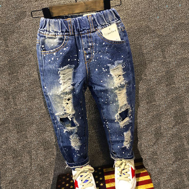 Infant Boys Brand Pants Kids Trousers Fashion Girls Jeans Children Boys Ripped Jeans Kids Fashion Denim Pants Baby Casual Jean
