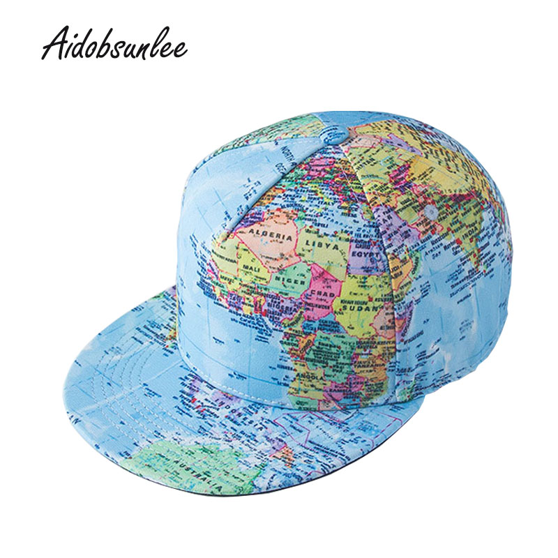2017 New MEN'S HATS World Map Printed Hip Hop Hat Men Baseball Cap women's summer hats Adjustable skate hat bone straight flap fashion printed skullies high quality autumn and winter printed beanie hats for men brand designer hats